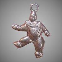 Vintage STERLING SILVER Charm - Clown, Full Figure, Walking