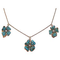 Antique 14K Gold Pave Turquoise Necklace