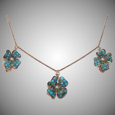 Antique Victorian 14K GOLD Necklace - Pave, Persian Turquoise, Four Leaf Clover Drops