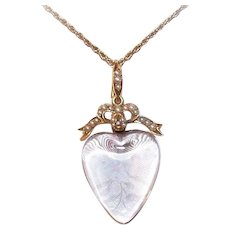 ANTIQUE VICTORIAN 18K Gold Pendant - Rock Crystal, Pearl, Heart Shaped, Lovers Bow, Locket