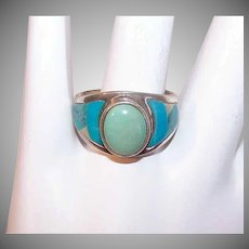 Vintage STERLING SILVER Ring - Stone Inlay, Turquoise, Agate, Native American Look