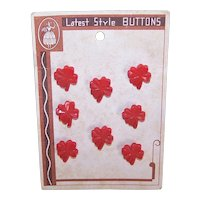 Carded Set/8 Red Plastic Four Leaf Clover Buttons