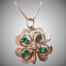 Modernist 14K GOLD Charm - Green Paste, Cultured Pearl, Four Leaf Clover, Shamrock