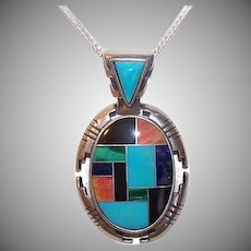 Vintage STERLING SILVER Pendant - Caroline Pollack, Stone Inlay, Native American Look