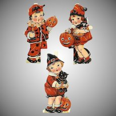 50% OFF 3 Diff C.1930 Made in Germany HALLOWEEN Die Cuts - Children Dress in Halloween Costume