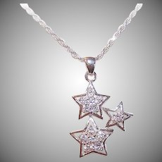 Vintage STERLING SILVER Necklace - Star Pendant, Italian Twist Chain, White Rhinestones