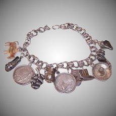 Vintage STERLING SILVER Charm Bracelet - 11 Charms, Mexican, Mexico Themed