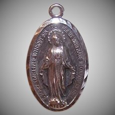 Vintage STERLING SILVER Pendant - Religious, Miraculous Medal, Virgin Mary, Sacred Heart