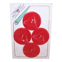Carded Set/4 Red Carved Bakelite Early Plastic Buttons
