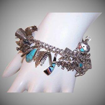 Vintage STERLING SILVER Bracelet - Charm Bracelet, 27 Charms, Western Design, Cowboys