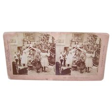 Victorian Christmas Stereoview Card - Children Playing Near the Christmas Tree,