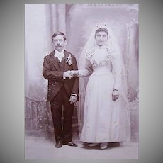 VICTORIAN Cabinet Card Photograph - The Bridal Couple