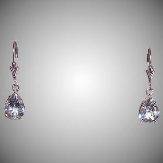 Vintage 14K GOLD Earrings - 5CT TW Blue Tourmaline, Pear Shape, Pierced, French Earwires