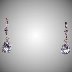 Vintage 14K Gold Blue Tourmaline Earrings