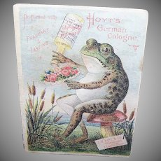 VICTORIAN Trade Card - Hoyts German Cologne, Frog with Bouquet, Blotter