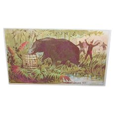 "VICTORIAN Trade Card - Alden Fruit Vinegar, Indians Chasing a ""Something"""