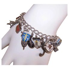Vintage STERLING SILVER Charm Bracelet - Enamel, 29 Charms, Travel Shield, Figural