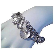 Vintage STERLING SILVER Bracelet - Cultured Pearls, Links of London, Charm Bracelet