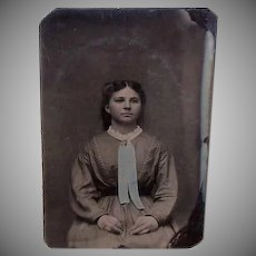 Antique TINTYPE - Seated Girl, Hand Tinted