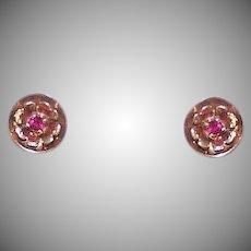Art Deco 14K Gold Ruby Earrings