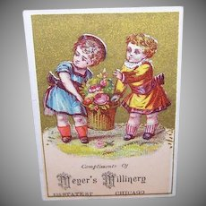 VICTORIAN Trade Card - Meyer's Millinery, Chicago, Ill