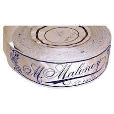 3 Antique Edwardian Fabric Dress/Hat Labels - M Maloney, St Louis