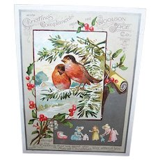 VICTORIAN Trade Card - Christmas Compliments from The Woolson Spice Co, Two Robins