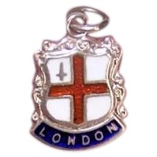Vintage STERLING SILVER Charm - Enamel, City of London, Travel Shield