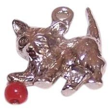 Vintage STERLING SILVER Charm - Kitten Playing with a Red Ball