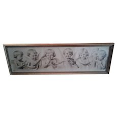 ANTIQUE PRINT - C.1900, Cupids Orchestra, W.L. Haskell, 1/2 Yard Long, Framed