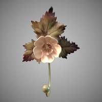 Vintage Italian Tole Coat Hook Buttercup with Leaves