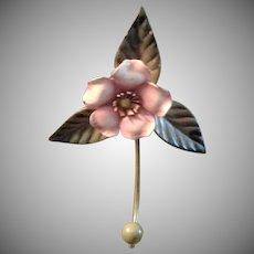 Vintage ITALIAN TOLE Coat Hook - Pink Magnolia, Olive Green Leaves