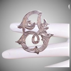 Vintage STERLING SILVER Pin - Mexican, Initial I, Etched, Cutwork