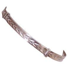 EDWARDIAN Sterling Silver Bracelet - Baby, Childs, Adjustable Bangle, Etched Top