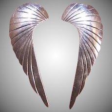 Vintage STERLING SILVER Earrings - Long Angel Wings, Feathers, Artisan Made
