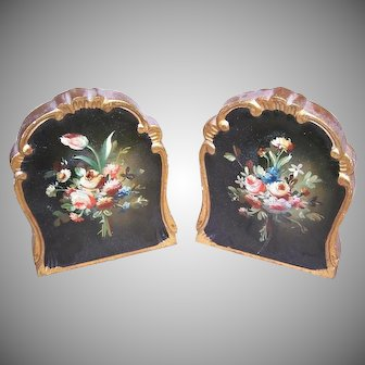 Italian Tole Painted Floral Bookends