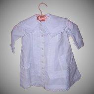ANTIQUE EDWARDIAN Childs White Cotton Linen Coat - Needs Some TLC