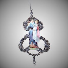 VICTORIAN REVIVAL Christmas Ornament - Victorian Die Cut, Tinsel, Glass Beads - Mother Holding Child