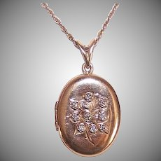 Vintage 14K GOLD Locket - .13CT TW Diamond, Engraved Floral, Oval, Pendant
