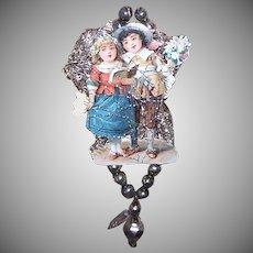 VICTORIAN REVIVAL Christmas Ornament - Victorian Die Cut, Tinsel, Glass Beads - Children Walking