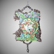 VICTORIAN REVIVAL Christmas Ornament - Victorian Die Cut, Tinsel, Glass Beads - Dove in Pink Roses Wreath