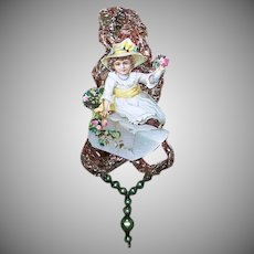 VICTORIAN REVIVAL Christmas Ornament - Victorian Die Cut, Tinsel, Glass Beads - Little Girl with Flowers