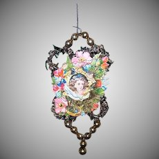 VICTORIAN REVIVAL Christmas Ornament - Victorian Die Cut, Tinsel, Glass Beads - Portrait of Little Girl