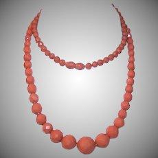 Art Deco FACETED Hard Plastic Necklace with Original Barrel Clasp