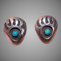 Vintage STERLING SILVER Earrings - Southwestern, Indian, Bear Paw, Pierced, Posts with Nuts, Studs