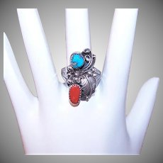 Vintage STERLING SILVER Ring - Red Coral, Turquoise, Ronnie Hurley, Navajo