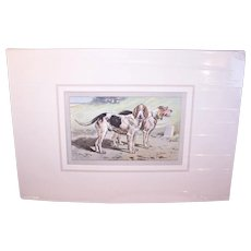 Vintage C.1931 French Print -Matted P. Mahler Colored Photogravure of a Pair of Pointers (Dogs)