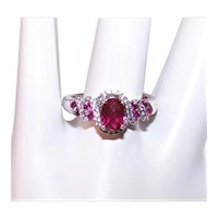 Sterling Silver Red Cubic Zirconia CZ Cocktail Ring