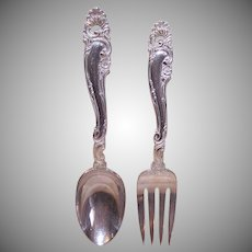Gorham, Decor Pattern (1953), STERLING SILVER, Serving Set - Fork and Spoon