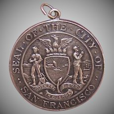 ANTIQUE EDWARDIAN Sterling Silver Pendant - Commemorative Medal, San Francisco, Shreve & Co